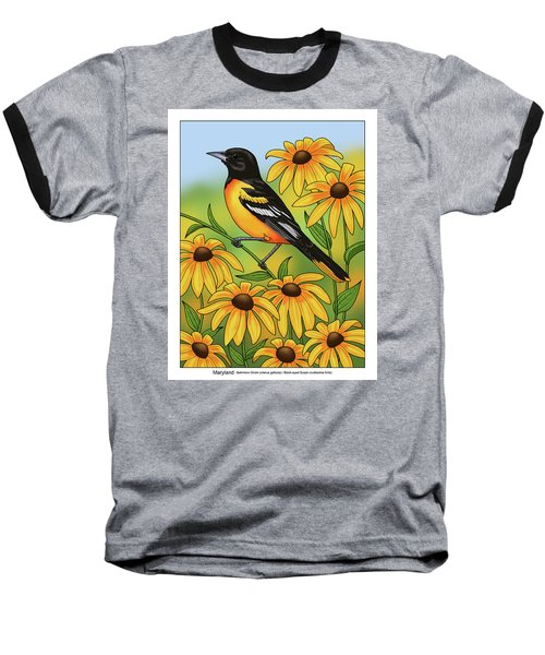 Maryland State Bird Oriole And Daisy Flower Baseball T-Shirt by Crista Forest