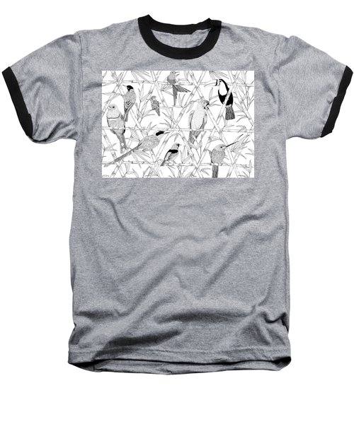 Menagerie Black And White Baseball T-Shirt by Jacqueline Colley