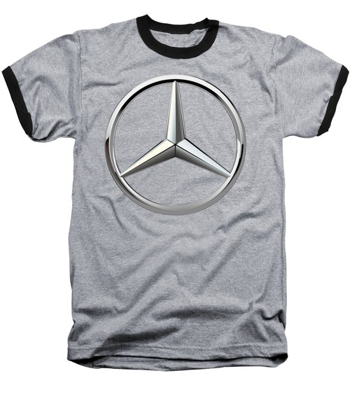Mercedes-benz - 3d Badge On Black Baseball T-Shirt by Serge Averbukh