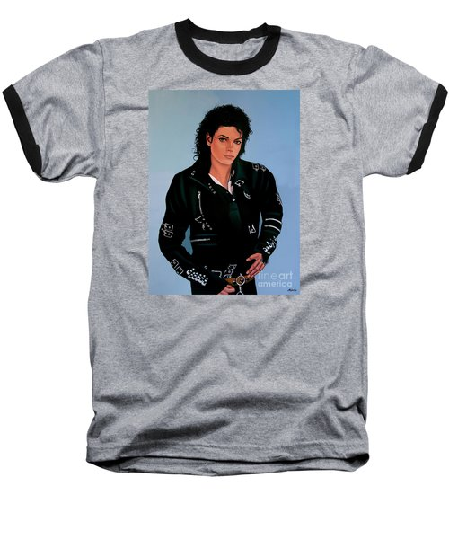 Michael Jackson Bad Baseball T-Shirt by Paul Meijering