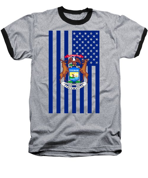 Michigan State Flag Graphic Usa Styling Baseball T-Shirt by Garaga Designs