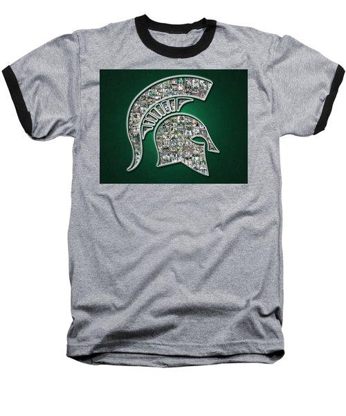 Michigan State Spartans Football Baseball T-Shirt by Fairchild Art Studio