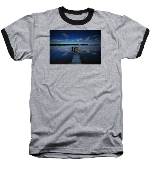 Midnight At Shady Shore On Moose Lake Minnesota Baseball T-Shirt by Alex Blondeau
