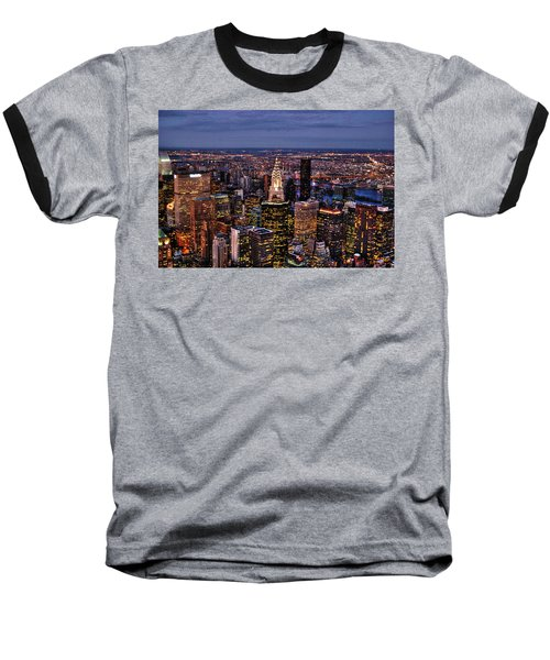 Midtown Skyline At Dusk Baseball T-Shirt by Randy Aveille