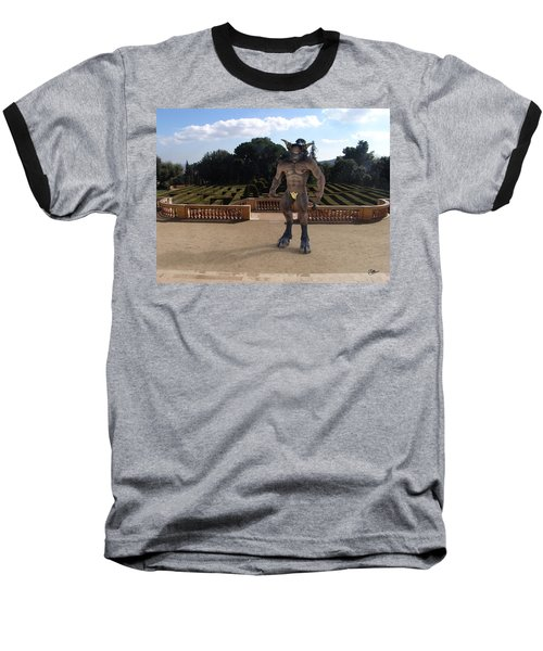 Minotaur In The Labyrinth Park Barcelona. Baseball T-Shirt by Joaquin Abella
