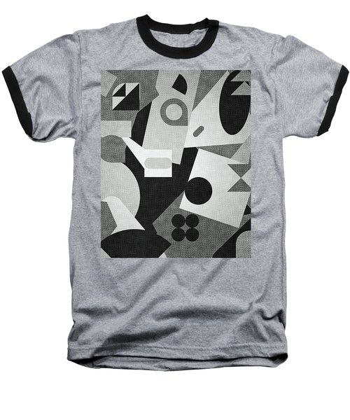 Mod, Grayscale Baseball T-Shirt by Sandy Taylor