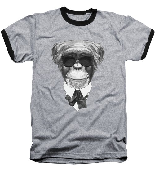 Monkey In Black Baseball T-Shirt by Marco Sousa