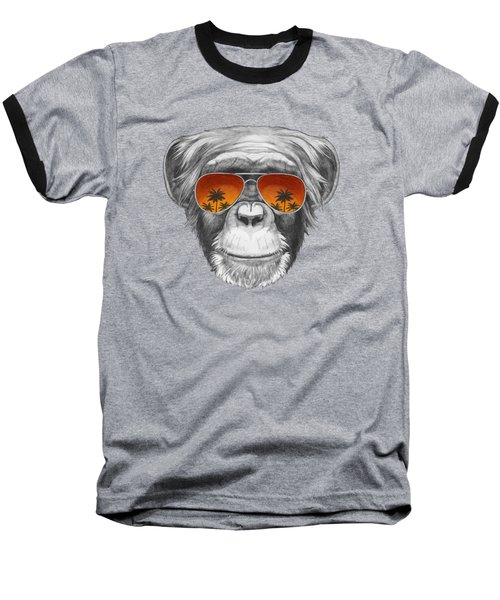 Monkey With Mirror Sunglasses Baseball T-Shirt by Marco Sousa