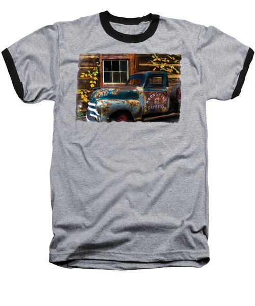 Moonshine Express Bordered Baseball T-Shirt by Debra and Dave Vanderlaan