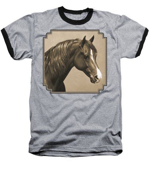 Morgan Horse Painting In Sepia Baseball T-Shirt by Crista Forest