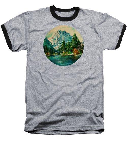 Mountain Lake Baseball T-Shirt by Mary Wolf