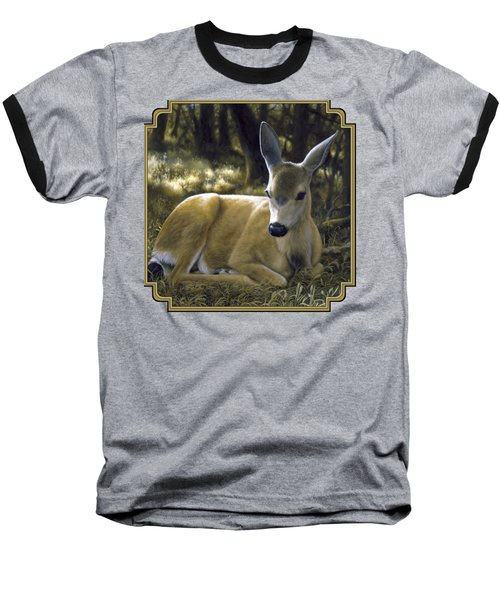 Mule Deer Fawn - A Quiet Place Baseball T-Shirt by Crista Forest