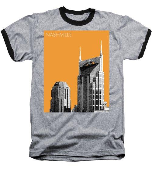 Nashville Skyline At And T Batman Building - Orange Baseball T-Shirt by DB Artist
