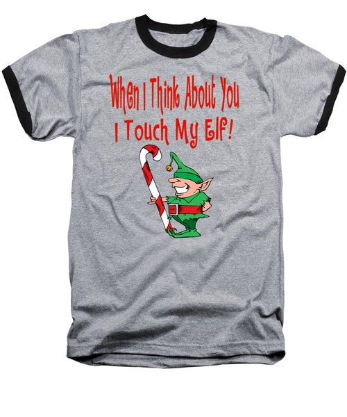 Naughty Christmas Elf Baseball T-Shirt by Susan Cooper