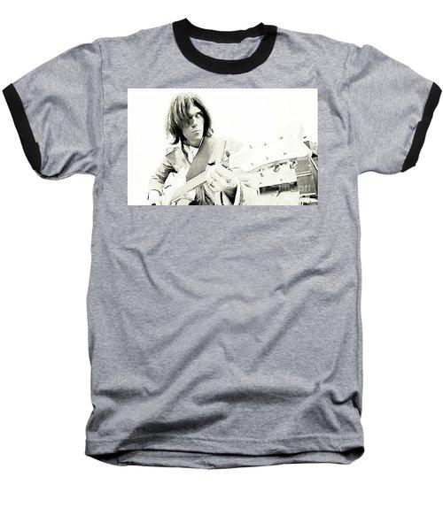 Neil Young Watercolor Baseball T-Shirt by John Malone