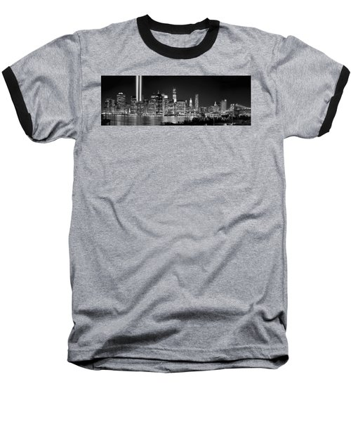 New York City Bw Tribute In Lights And Lower Manhattan At Night Black And White Nyc Baseball T-Shirt by Jon Holiday