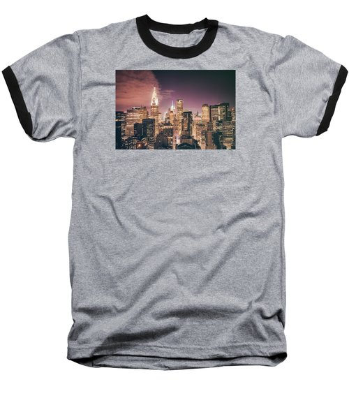 New York City Skyline - Night Baseball T-Shirt by Vivienne Gucwa