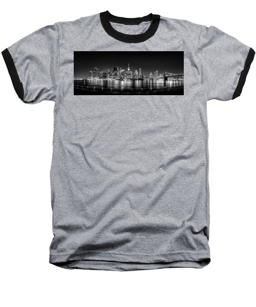 New York City Skyline Panorama At Night Bw Baseball T-Shirt by Az Jackson