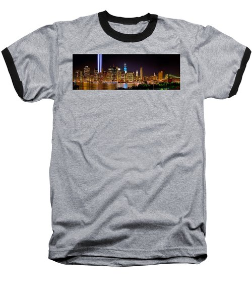 New York City Tribute In Lights And Lower Manhattan At Night Nyc Baseball T-Shirt by Jon Holiday
