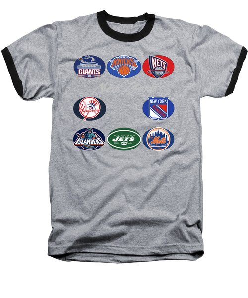 New York Professional Sport Teams Collage  Baseball T-Shirt by Movie Poster Prints