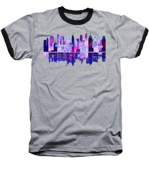New York Skyline Red Baseball T-Shirt by John Groves