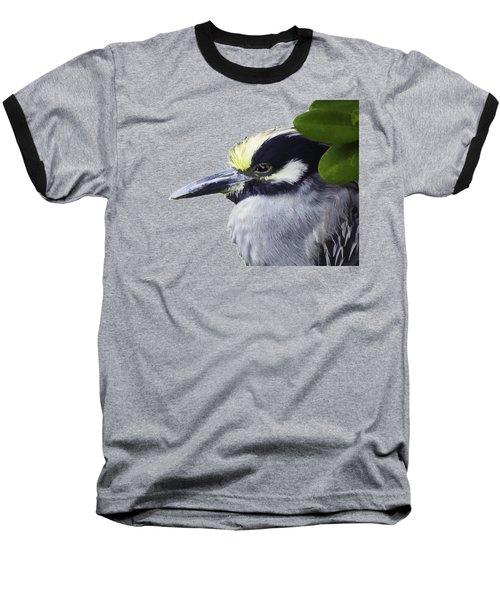 Night Heron Transparency Baseball T-Shirt by Richard Goldman