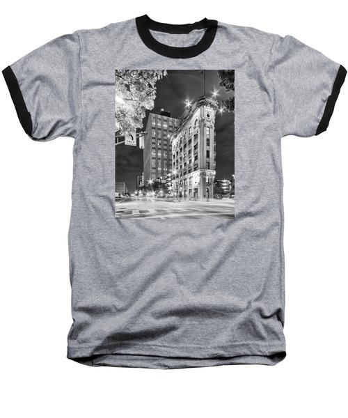 Night Photograph Of The Flatiron Or Saunders Triangle Building - Downtown Fort Worth - Texas Baseball T-Shirt by Silvio Ligutti
