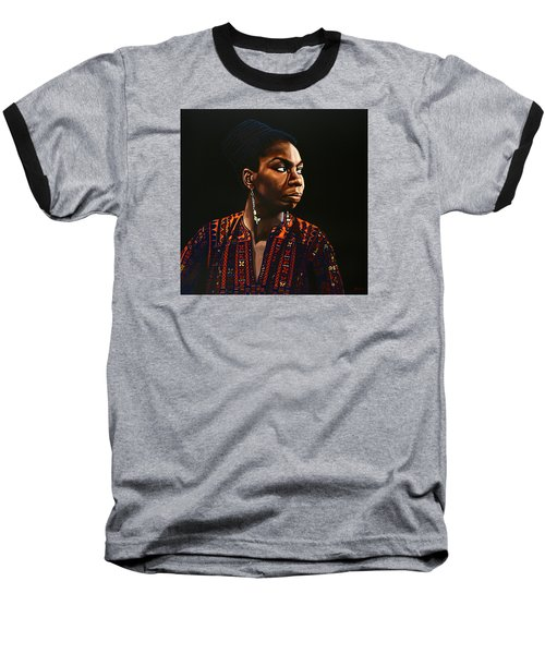 Nina Simone Painting Baseball T-Shirt by Paul Meijering