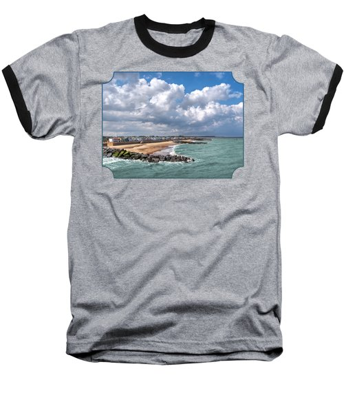 Ocean View - Colorful Beach Huts Baseball T-Shirt by Gill Billington