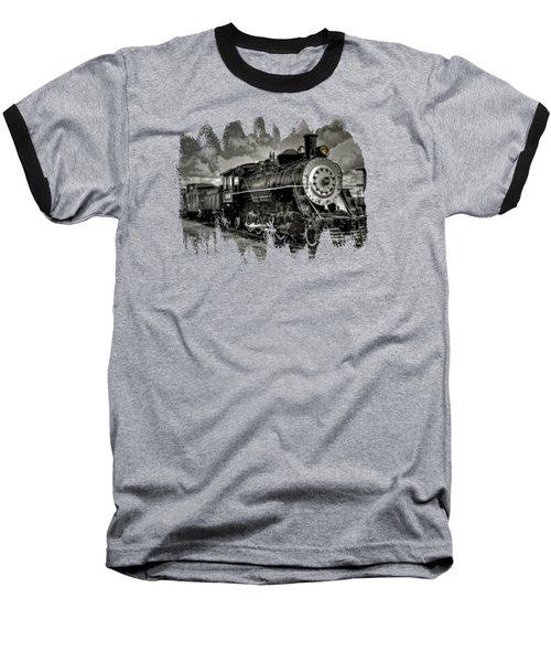 Old 104 Steam Engine Locomotive Baseball T-Shirt by Thom Zehrfeld