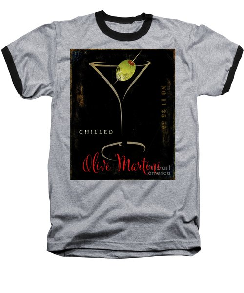 Olive Martini Baseball T-Shirt by Mindy Sommers