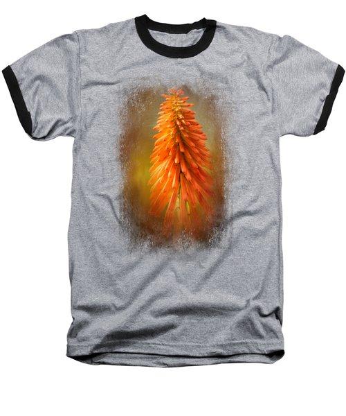 Orange Blast In The Garden Baseball T-Shirt by Jai Johnson