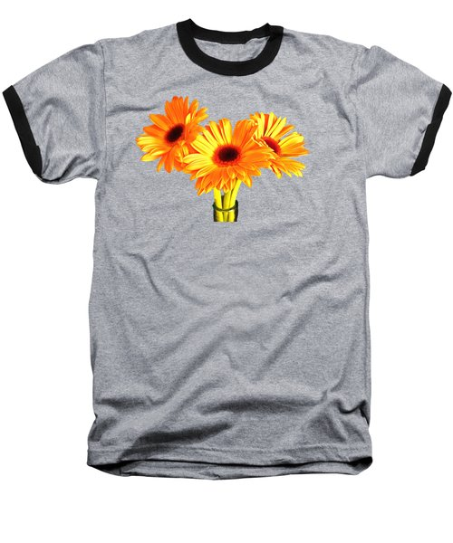 Orange Gerbera's Baseball T-Shirt by Scott Carruthers