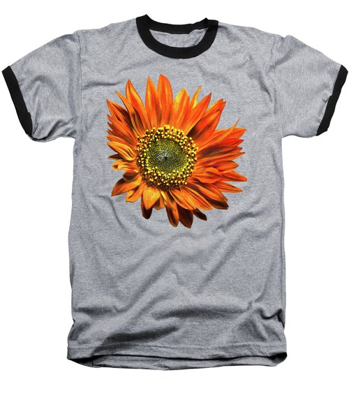 Orange Sunflower Baseball T-Shirt by Christina Rollo