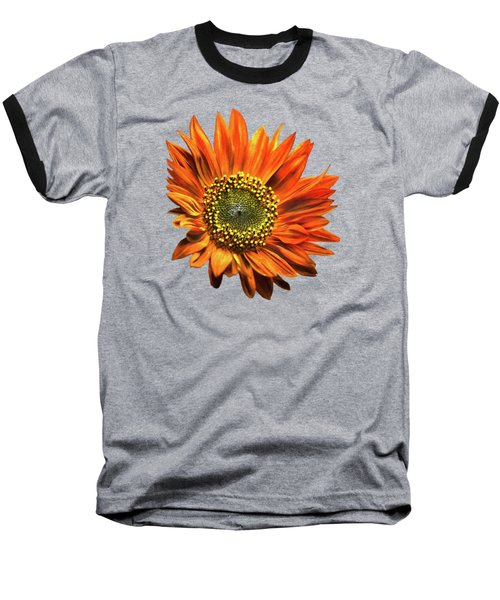 Orange Sunflower Baseball T-Shirt by Christina Rollo