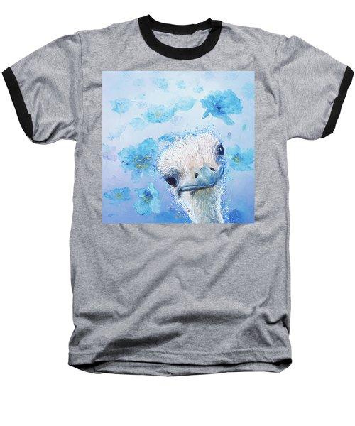 Ostrich In A Field Of Poppies Baseball T-Shirt by Jan Matson