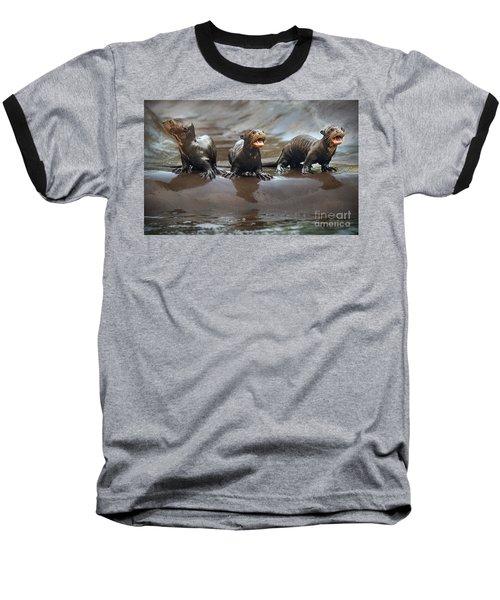 Otter Pup Triplets Baseball T-Shirt by Jamie Pham