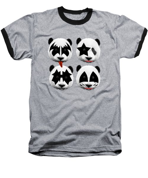 Panda Kiss  Baseball T-Shirt by Mark Ashkenazi