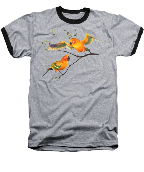 Parrots Conure Baseball T-Shirt by Diane Leenknegt