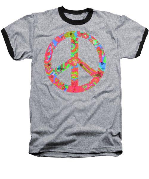 Peace Baseball T-Shirt by Linda Lees