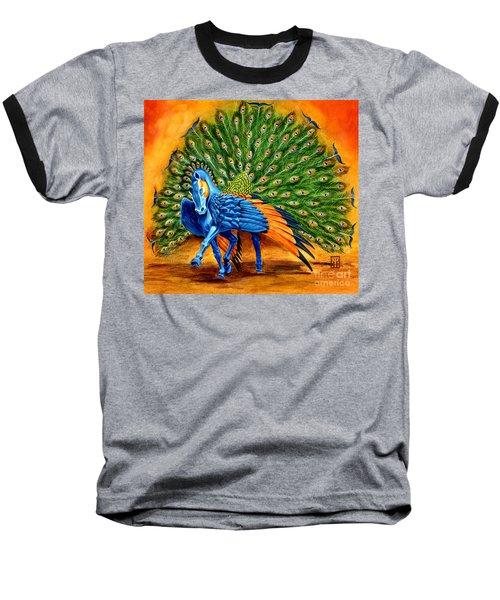 Peacock Pegasus Baseball T-Shirt by Melissa A Benson