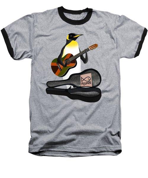 Penguin Busker Baseball T-Shirt by Early Kirky