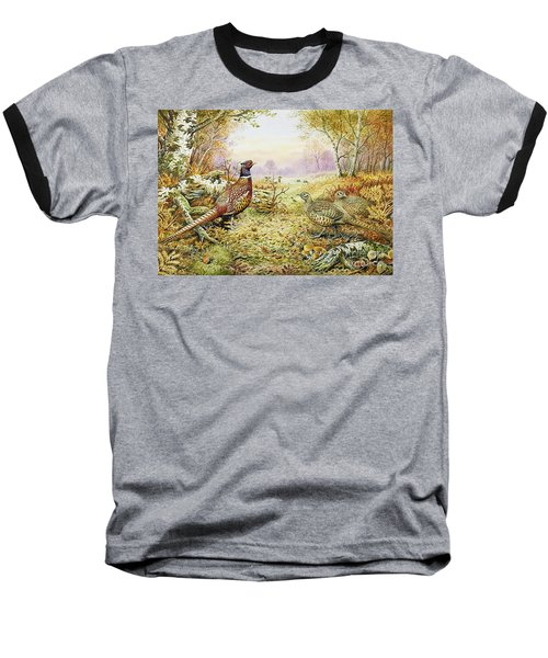 Pheasants In Woodland Baseball T-Shirt by Carl Donner
