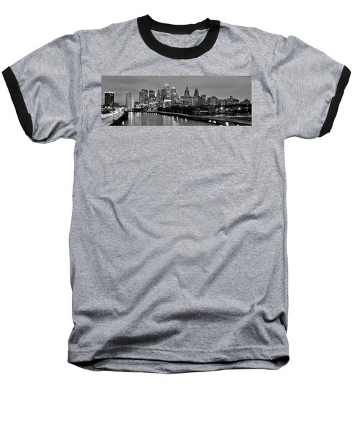 Philadelphia Philly Skyline At Dusk From Near South Bw Black And White Panorama Baseball T-Shirt by Jon Holiday