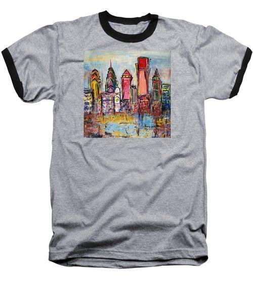 Philadelphia Skyline 232 1 Baseball T-Shirt by Mawra Tahreem