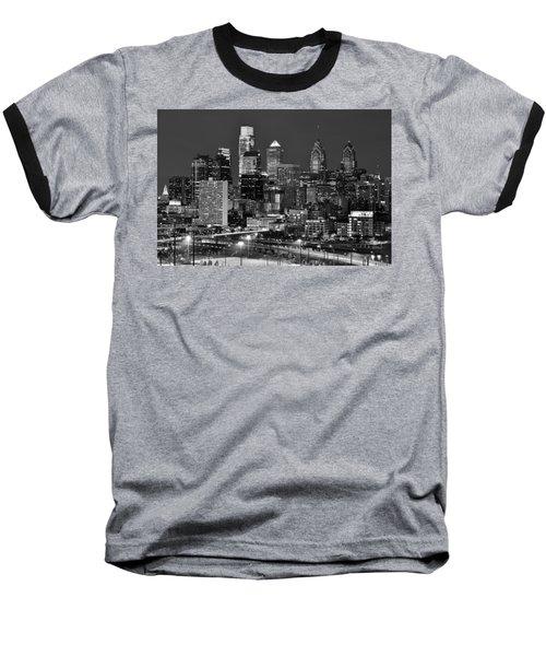 Philadelphia Skyline At Night Black And White Bw  Baseball T-Shirt by Jon Holiday