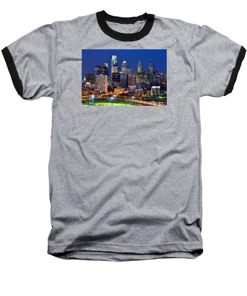 Philadelphia Skyline At Night Baseball T-Shirt by Jon Holiday