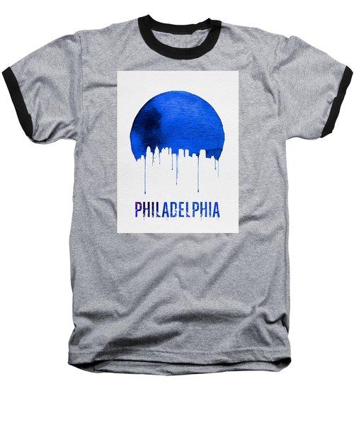 Philadelphia Skyline Blue Baseball T-Shirt by Naxart Studio