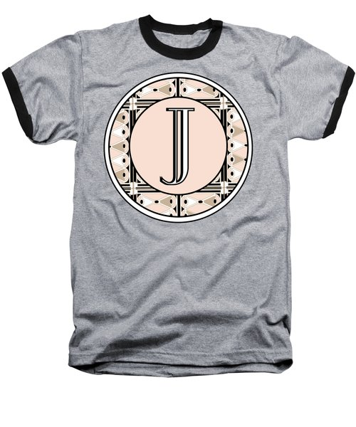 Pink Champagne Deco Monogram  J Baseball T-Shirt by Cecely Bloom