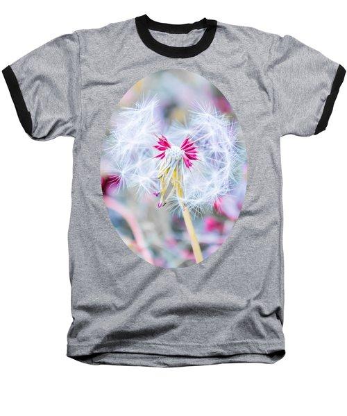 Pink Dandelion Baseball T-Shirt by Parker Cunningham